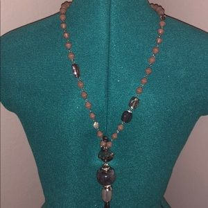 Grey and silver long necklace
